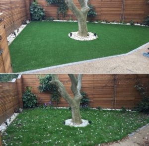 Artificial grass garned installation in Putney, London