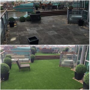 Astro London rooftop artificial grass installation