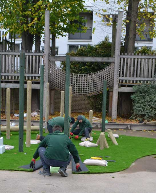Synthetic grass installation in school/colleges