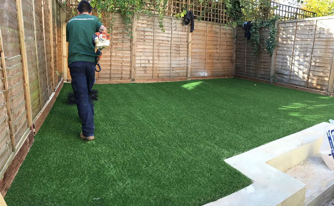 Astrolondon using astro brush on a synthetic grass