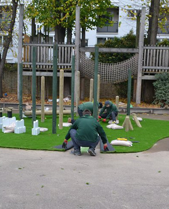 Astrolondon team doing professional synthetic grass installation