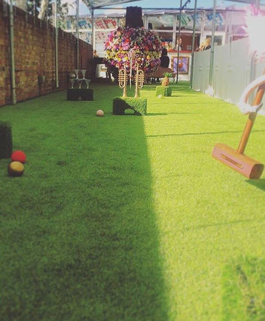 Plastic grass insallation in a Croydon event