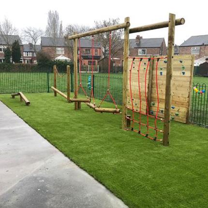 Plastic grass insallation in a Hackney school/college