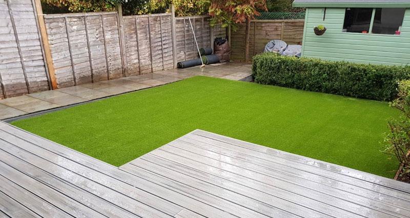 l shape artificial lawn job by AstroLondon in South London