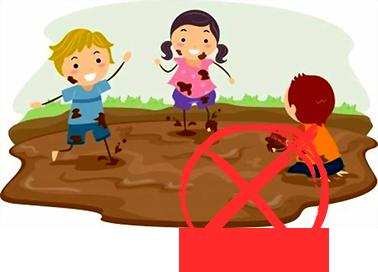 kids paying on muddy ground